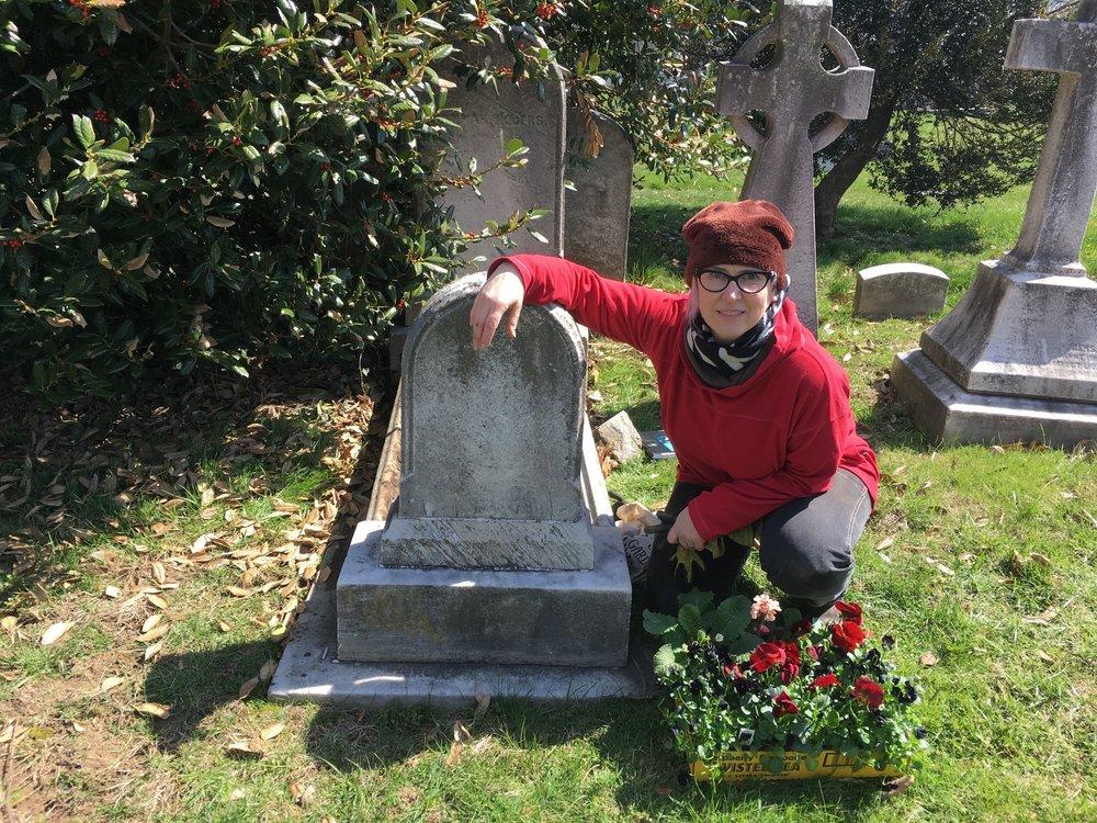 Sue planting up her Grave Garden