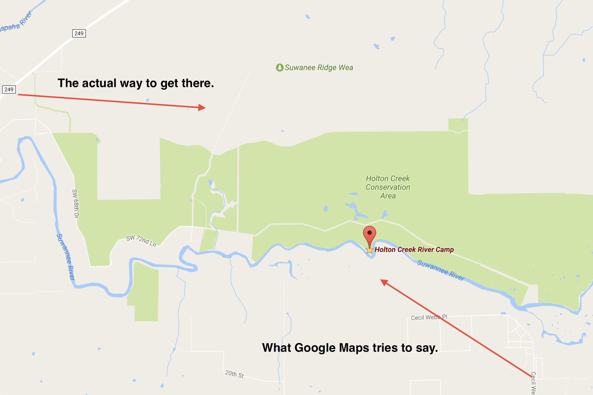 Google assumes that there is a magical bridge that goes from the south side to the north side; there isn't, just private property.