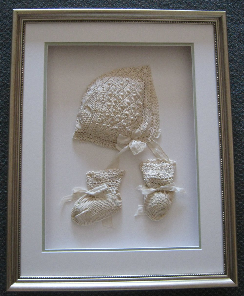 Antique Baby Booties & Bonnet