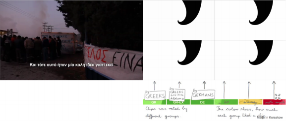 Figure 10: Interface as an experiment in democratic decision making in  Money and the Greeks  (Florian Thalhofer, 2013). Screenshot.