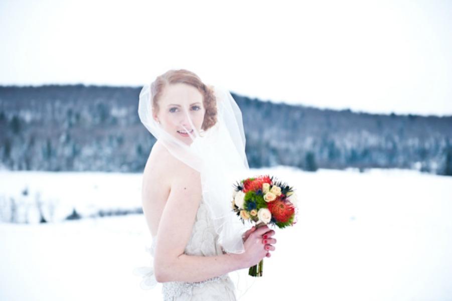 portrait of a snowy bride