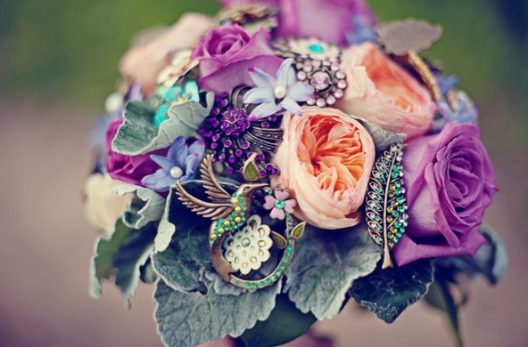 bouquet made of flowers and pin