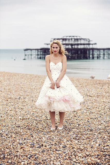 bride wearing a wedding-dress-polka-dots