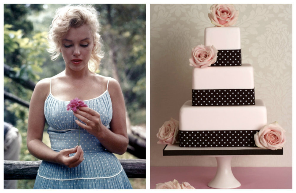 collage of a wedding cake and an image of Marilyn Monroe