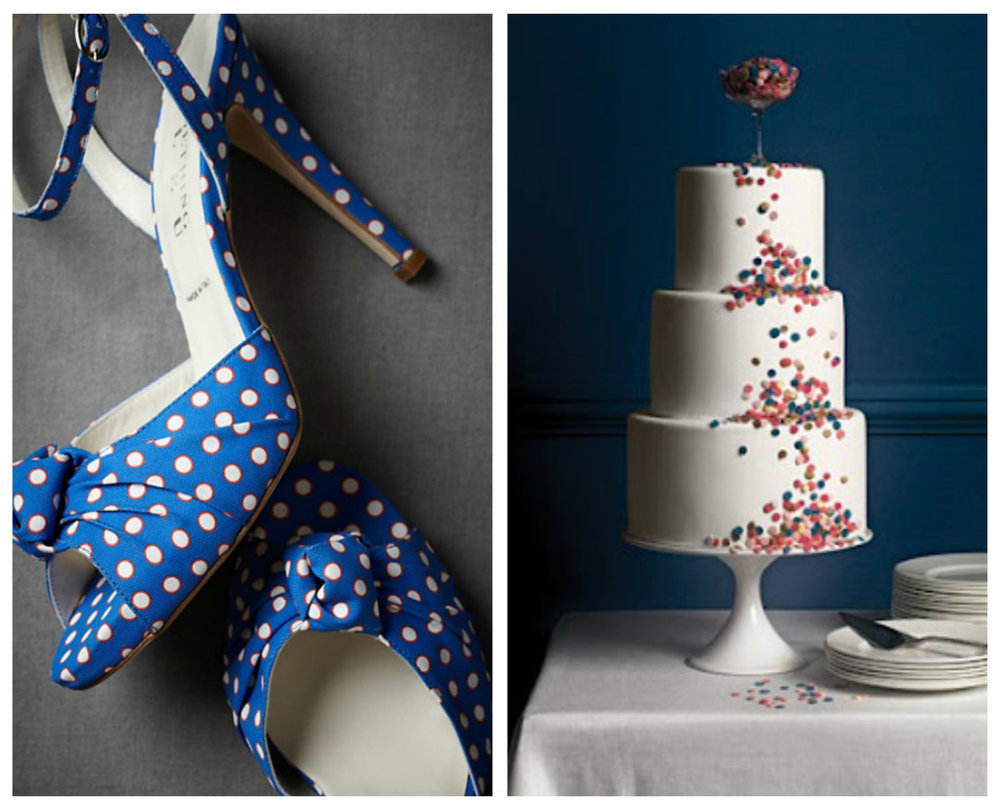 collage of Polkadot Wedding Inspiration accessories and a wedding cake