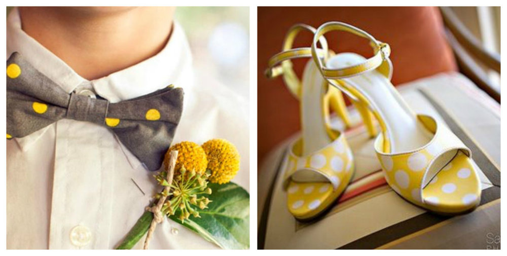 collage of Polkadot Wedding Inspiration accessories on yellow