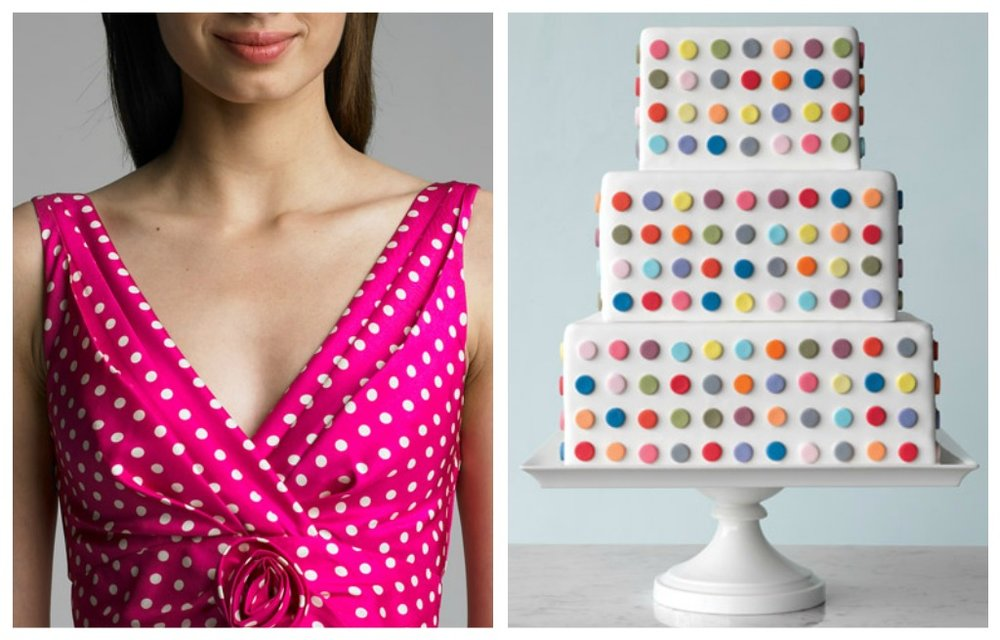 collage of Polkadot Wedding Inspiration accessories on pink