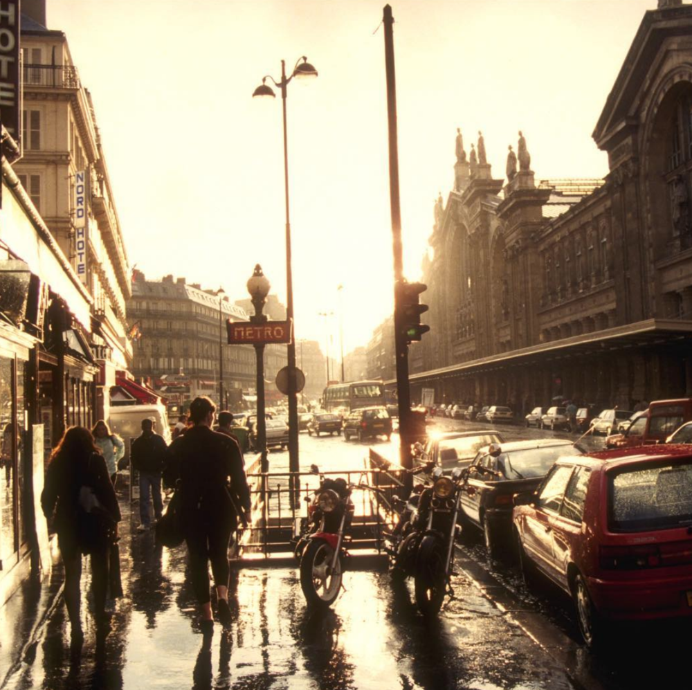 Paris, France- Afternoon street after Sun Shower