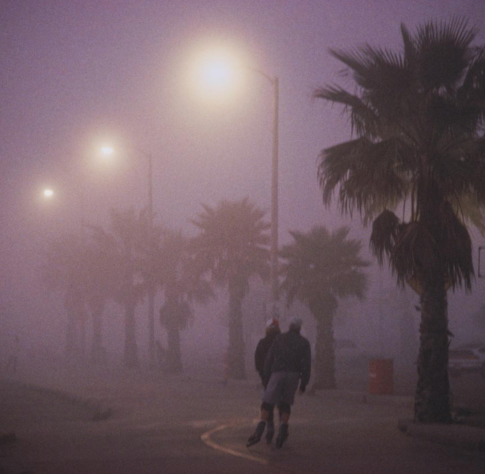Venice Beach, CA- Boardwalk in Fog at Dusk
