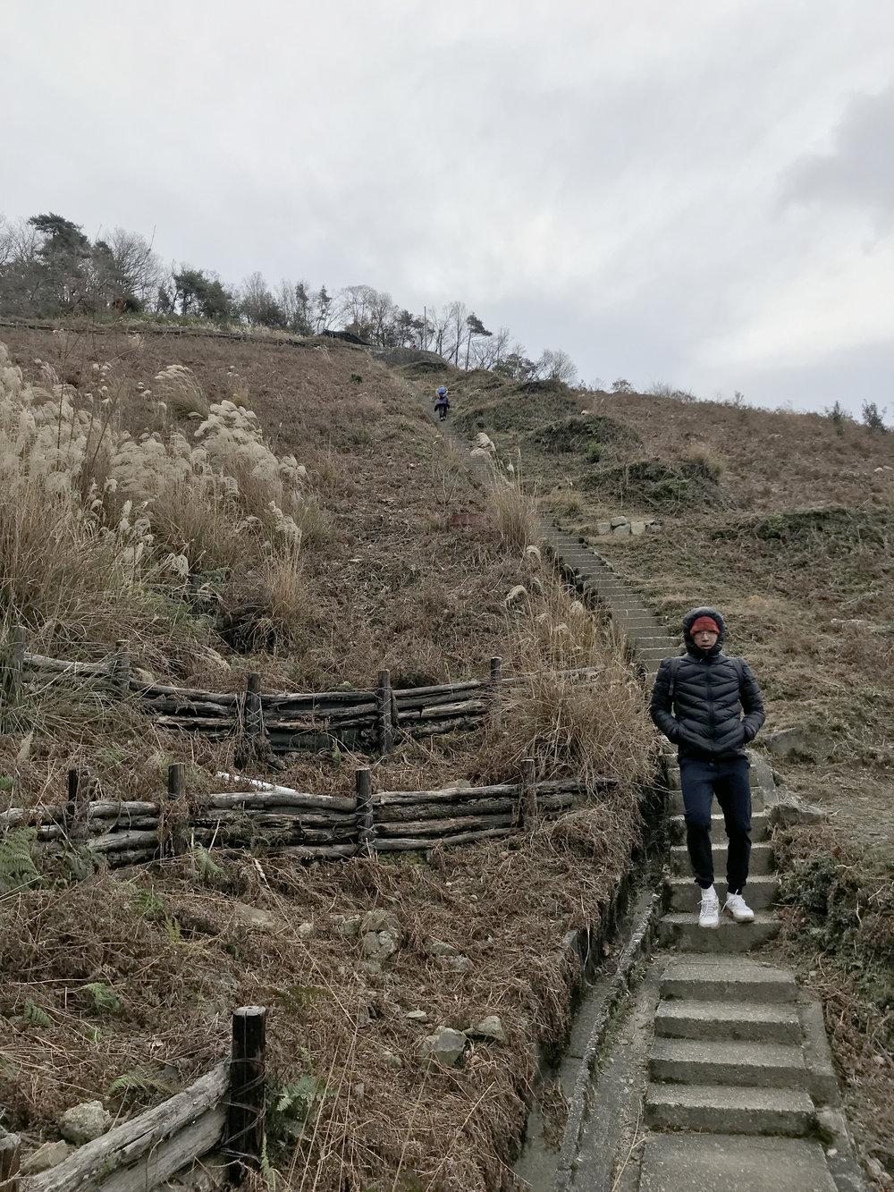 It's a steep walk down flights of small steps.