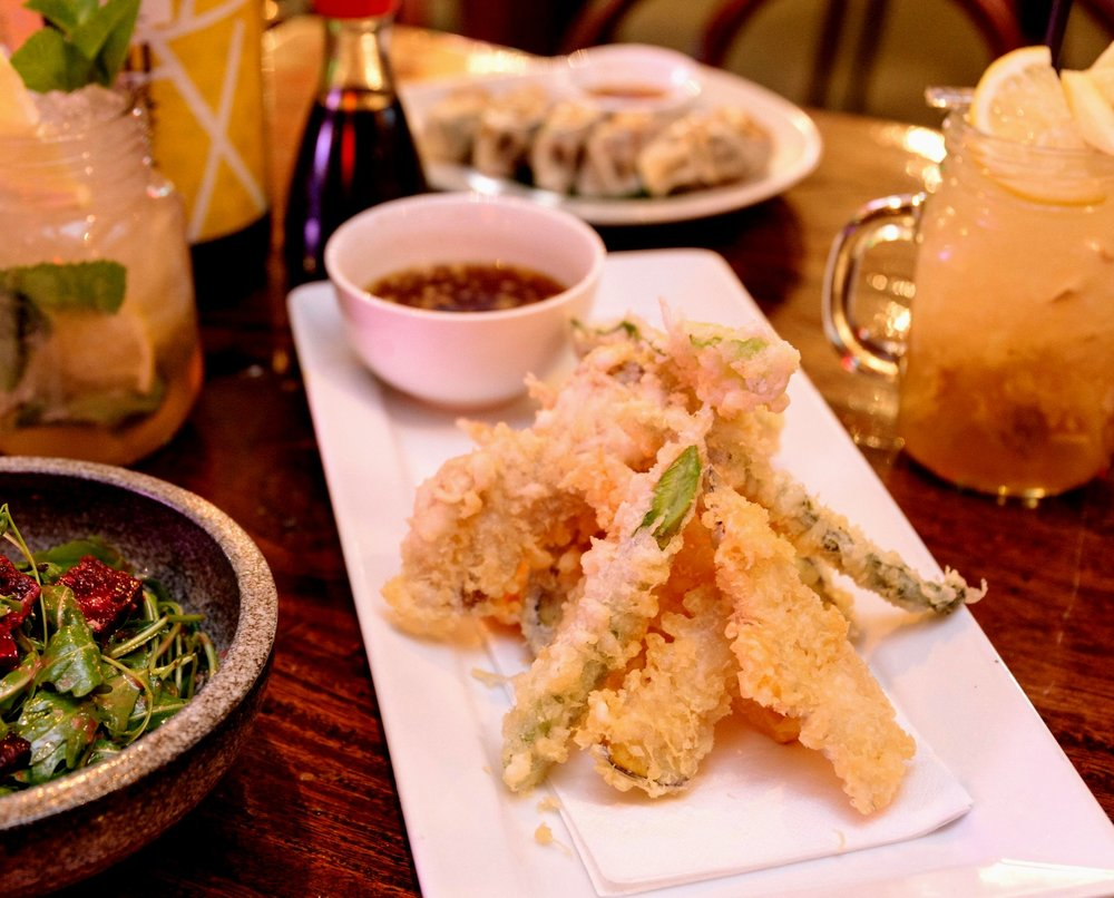 Yasai (Vegetable) Tempura pictured with Beetroot and Lychee Salad, Vegetable Gyoza and house Lemonades