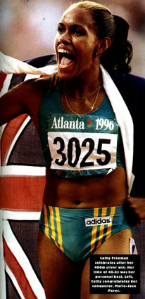 Cathy Freeman's magnificent run to take silver behind Perec in the 400m final. She actually ran faster in Atlanta than she did in Sydney