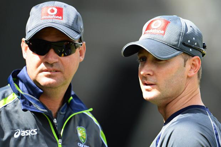 Coach Mickey Arthur and captain Michael Clarke