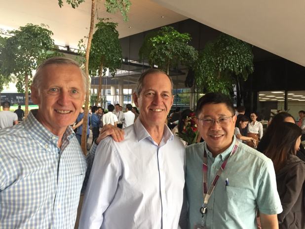 L to R: Professor Jim Best, Peter Brukner, Associate Professor Fabian Lim