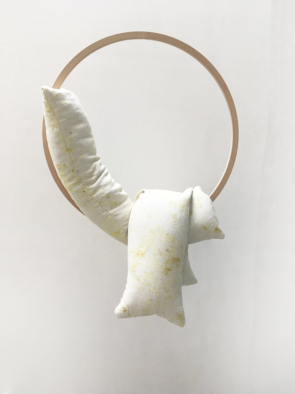 Lungs II (2018), soft sculpture on suspended wooden hoop, linen dyed with foraged elderflower, ground ivy and pine with chamomile.