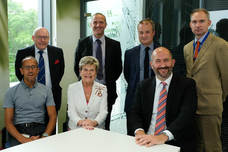 Photo caption: Back row left to right: Kingsley Smith (Clerk to the Lord-Lieutenant), Tony Forester (Durham County Council), Ben Sykes (FaulknerBrowns, Durham Riverside architects), and Kevin Edworthy (Durham County Council). Front Row: Ian Crampton (HM Passport Office), Her Majesty's Lord-Lieutenant of County Durham, Mrs Sue Snowdon and Neil McMillan (Durham Riverside developers)