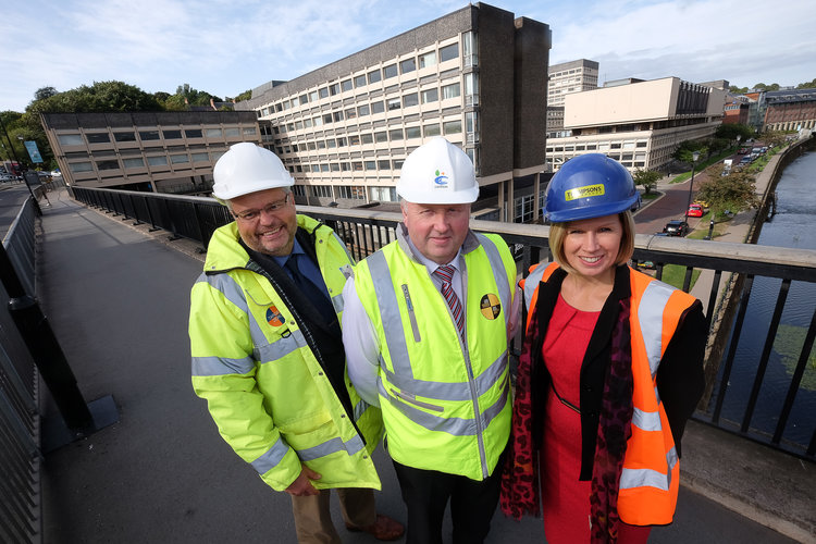 Photo caption: Left to right, Ian Beaumont (Milburngate Project Manager), Steve Hunter (Project Director, Carillion Construction Ltd) and Helen Hillary (Director, Thompsons of Prudhoe) in front of Milburngate House.
