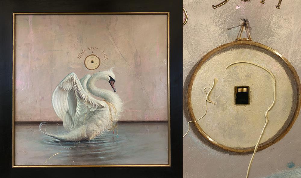 E.S.L. 2018. Cm 100x100, acrilico su tavola, memory card con all'interno l'immagine del dipinto.