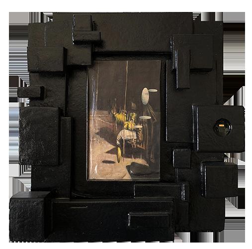 Studio per singolarità. 2008. Cm 45x40, acrilico su tavola, memory card con all'interno l'immagine del dipinto.
