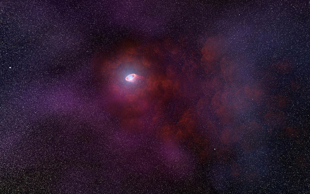 This is an illustration of a pulsar wind nebula produced by the interaction of the outflow particles from the neutron star with gaseous material in the interstellar medium that the neutron star is plowing through. Such an infrared-only pulsar wind nebula is unusual because it implies a rather low energy of the particles accelerated by the pulsar's intense magnetic field. This hypothesized model would explain the unusual infrared signature of the neutron star as detected by NASA's Hubble Space Telescope.    Credits: NASA, ESA, and N. Tr'Ehnl (Pennsylvania State University)