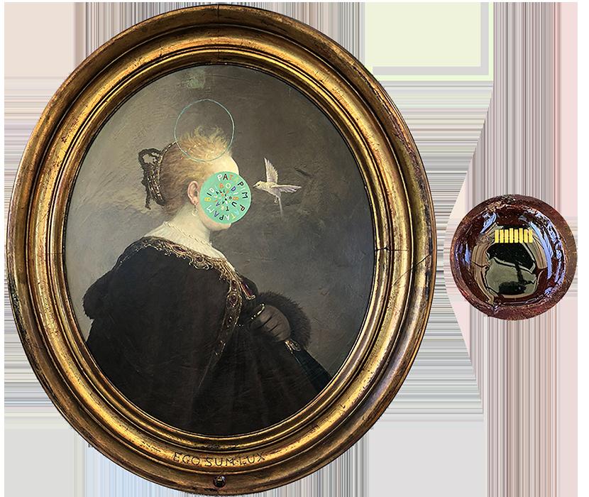 Epilogo e Rinascimento. 2017-2018. Cm 96x85, acrilico su tavola, memory card con all'interno l'immagine del dipinto.