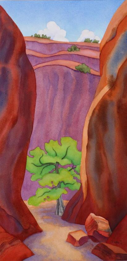 "Tree Treasure — 19""x10"" watercolor — $1700"