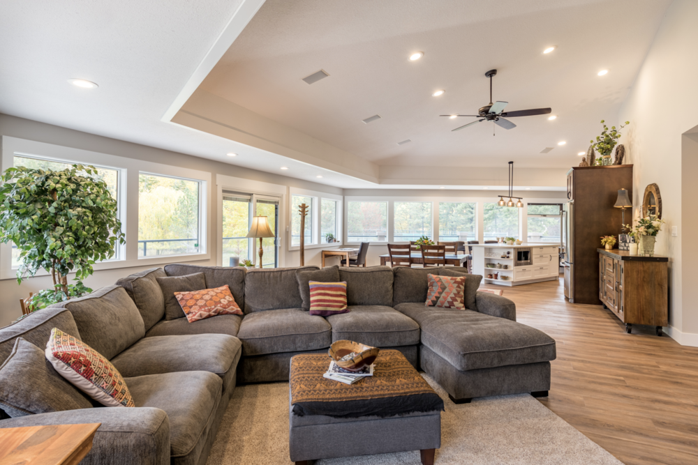 main suite - 2,100 square feet of modern country living space with 3 bedrooms, 2 bathrooms, and a Great Room. Enjoy the morning sun with your coffee on the wraparound patio or the afternoon and evening shade for a glass of wine.
