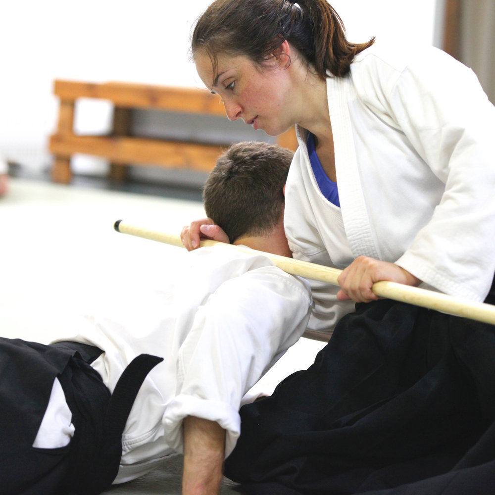 Lincoln Sensei demonstrating control of an attacker without inflicting injury