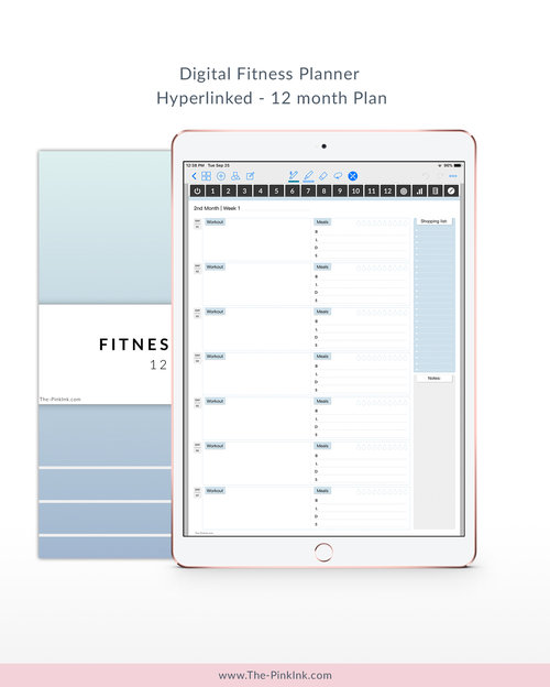 digital fitness planner start on any day digital sticker book