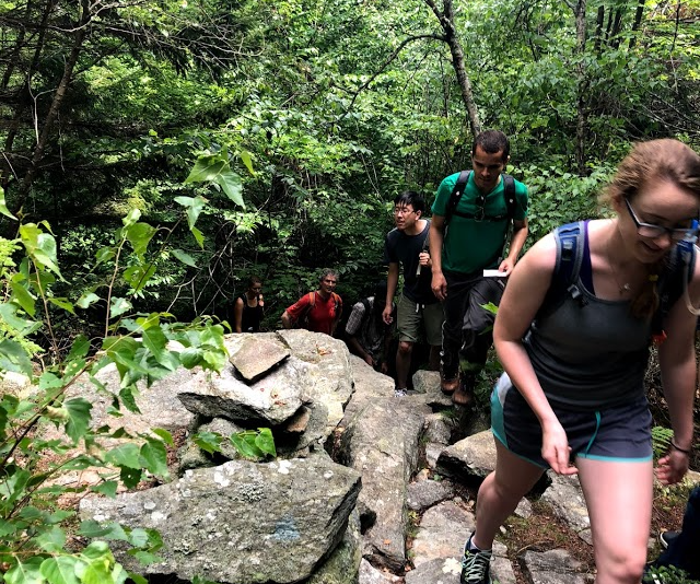 Hiking the Wapack Trail - On Friday, July 27, several lab members traveled to New Hampshire for a day of hiking on the Wapack Trail. The group hiked over six miles and enjoyed a picnic lunch.Pictured left to right: Lisa Toerk, Dan Kahne, Karan Pahil, James Lee, Thiago Santos, Becca Taylor