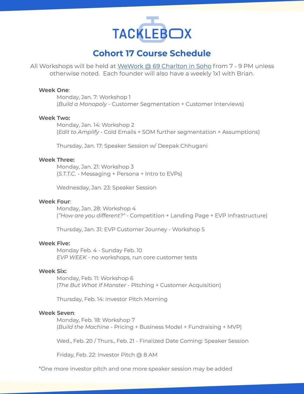 Cohort17 Schedule