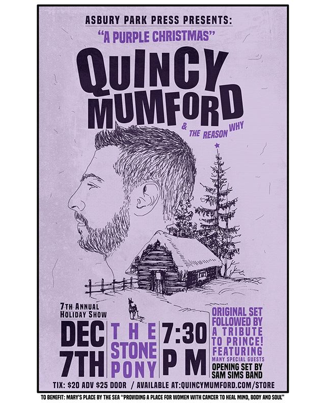 Have you ever seen us live? This is the show to see... 7th annual holiday show @the_stone_pony Dec 7th. Original set followed by TRIBUTE TO PRINCE !! 💜 11 piece band and a whole lot of special guests , all to benefit our friends at @marysplacebythesea ...get your tickets now before they are gone —  quincymumford.com/store . . . . . #holidayshow #apurplechristmas #superjam #quincymumfordandthereasonwhy #live #asburypark #newjersey #soulmusic #marysplacebythesea #asburyparkpress #asburyparkpresspresents @asburyparkpress @davidalastre @pjcoralloofficial @inlenick @michaelghegan @mikezdeb @neriomatheus @mskikiboomboom @greenjambone @the_cochran