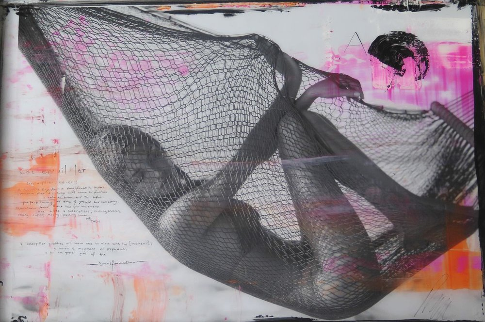 "Net,  2014. Archival print, ink, acrylic paint, encased in resin. 25 x 38""."
