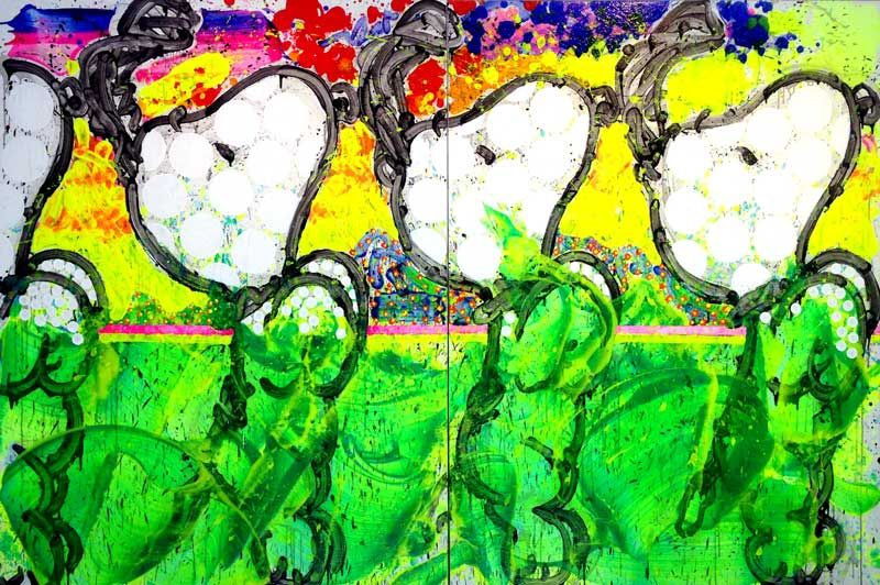 "Clones, 2018. Acrylic on Canvas. 84 x 128""."
