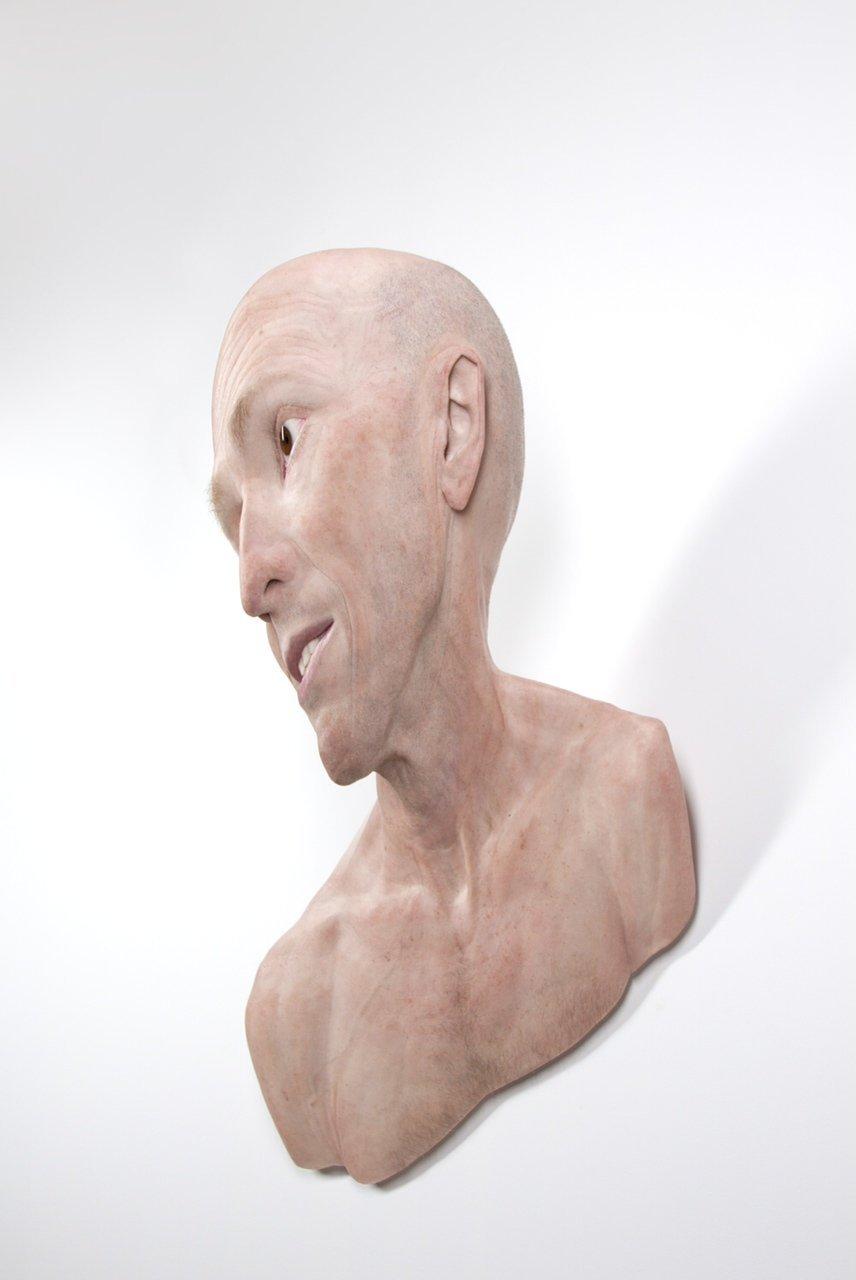 """Self, 2012. Silicone, pigment, hair, aluminum. 46.06 x 23.23 x 20.87"""""""