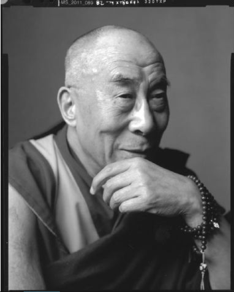 "Dalai Lama, Washington, DC, 2011. Gelatin Silver Print.  50 x 60""."