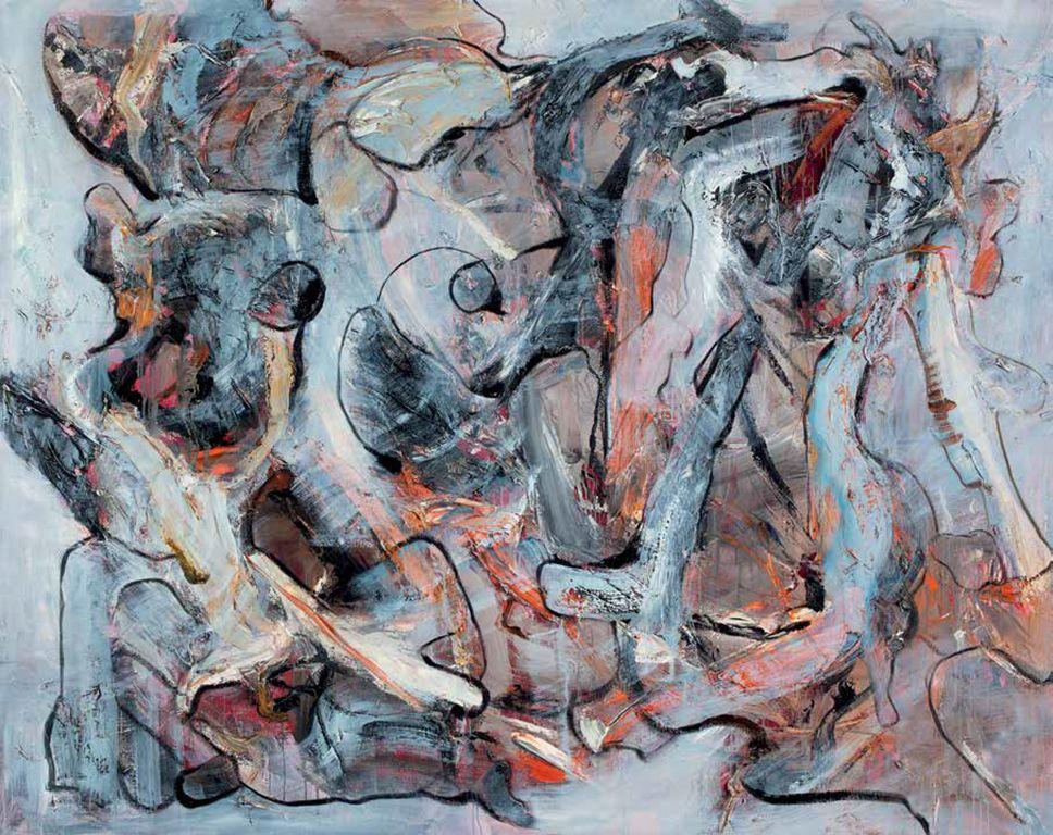 "Distinguish, 2011. Oil on Canvas. 76.77 x 96.46""."
