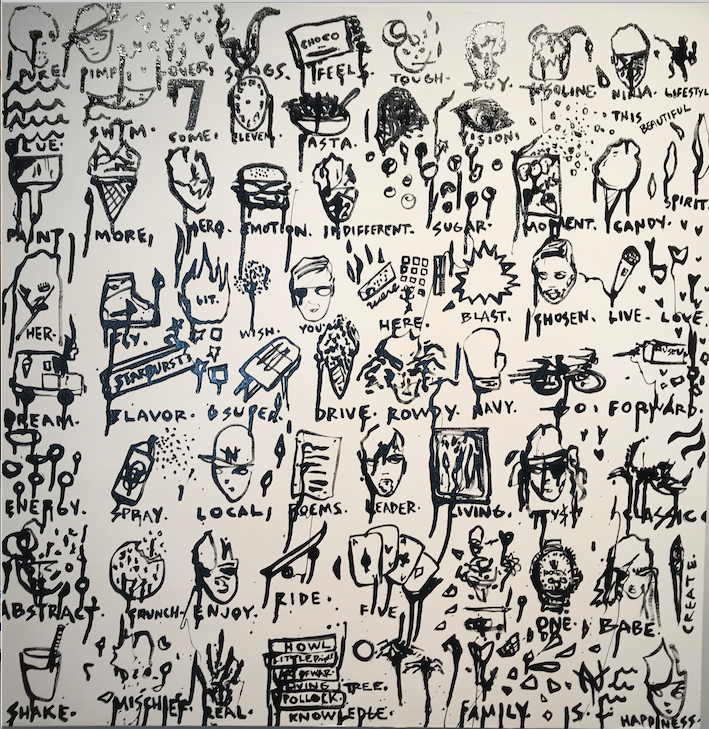 "This Beautiful Ninja Lifestyle, 2018. Enamel Marker on Canvas. 36 x 36""."