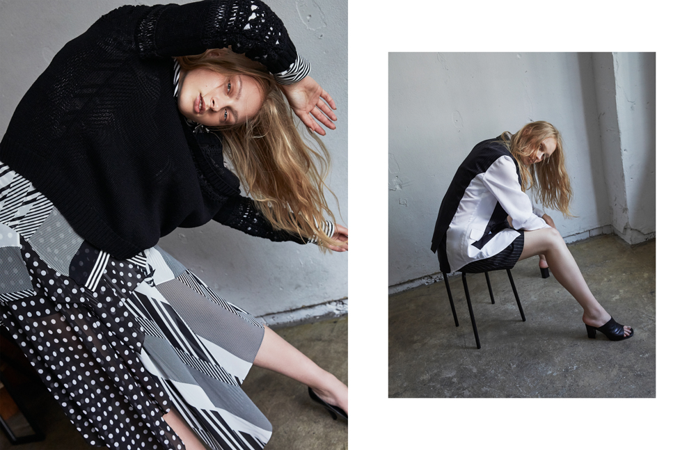 LEFT  Knit: YASUTOSHI EZUMI Shirt & skirt: ATSUSHI NAKASHIMA Shoes: stylist own  RIGHT  Jacket & Pants: ATSUSHI NAKASHIMA Shoes: Ombre