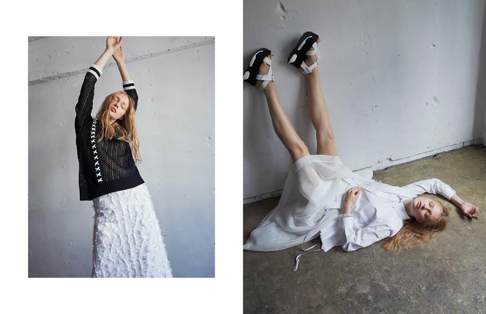 LEFT  Knit: YASUTOSHI EZUMI Skirt: Tiit Tokyo  RIGHT  Top: TOKIKO MURAKAMI Skirt D-VEC, Necklace UNOde50 Bracelet TATSUHIKO NISHIBATA(XANADU TOKYO) Shoes: stylist own
