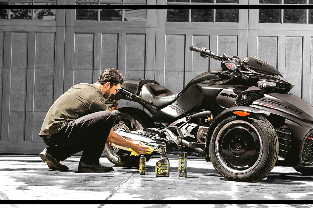 Proper vehicle care extends beyond maintenance. XPS clean and care products help protect your BRP vehicles from the elements where they are used to help you protect and enjoy your ownership experience   - Brakes & PArts Cleaner.  - Microfiber Towel  - Spray Cleaner & polish  - ETC