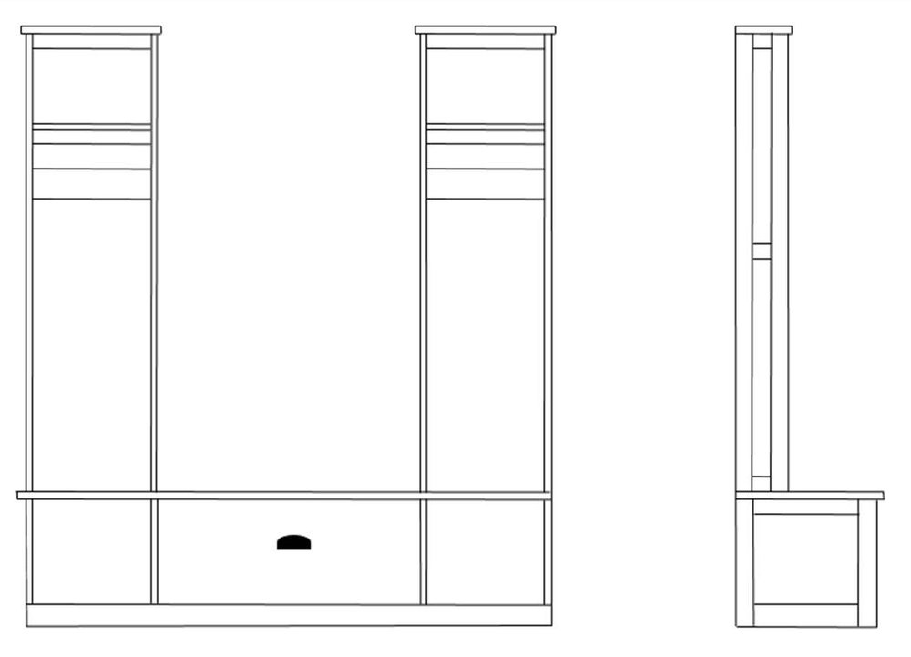 Conceptual Drawing for the Hall Tree/Storage unit