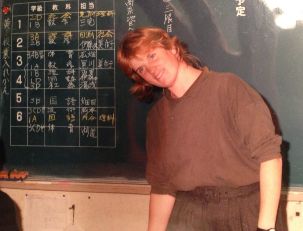Liz in 1990, teaching in Takahama, Japan