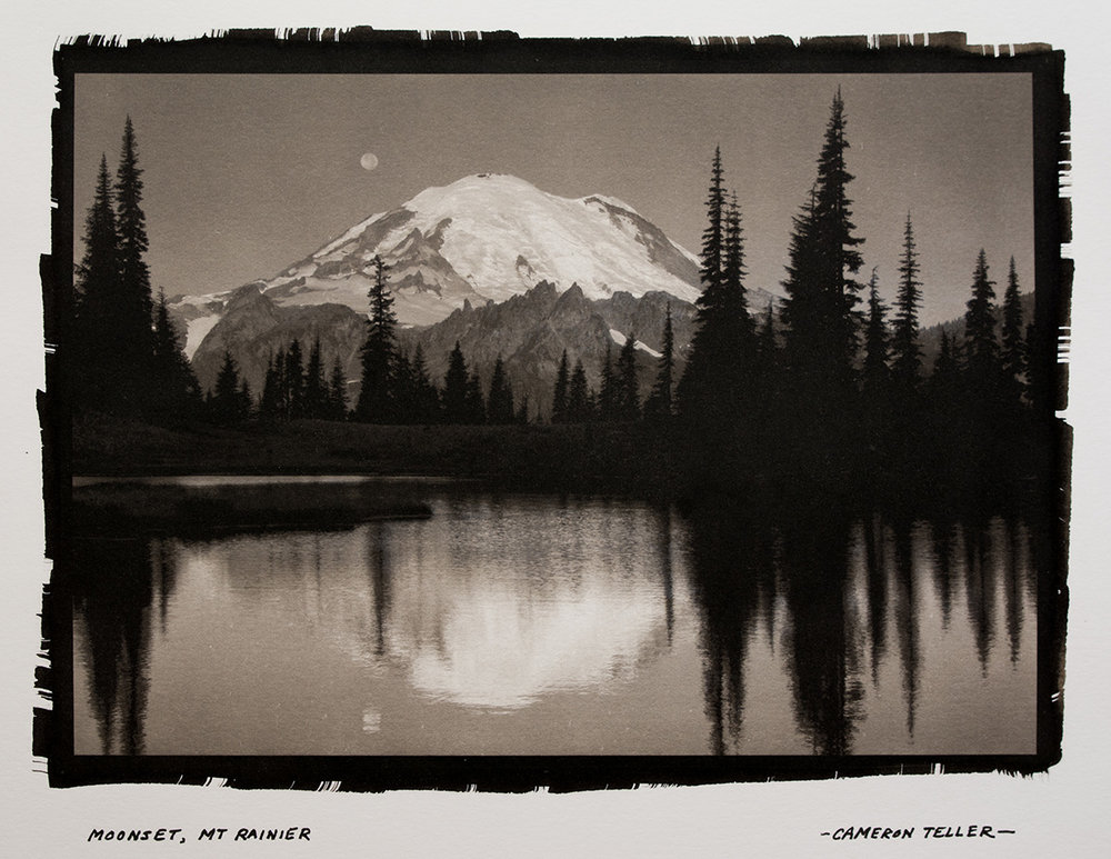Moonset, Mt. Rainier