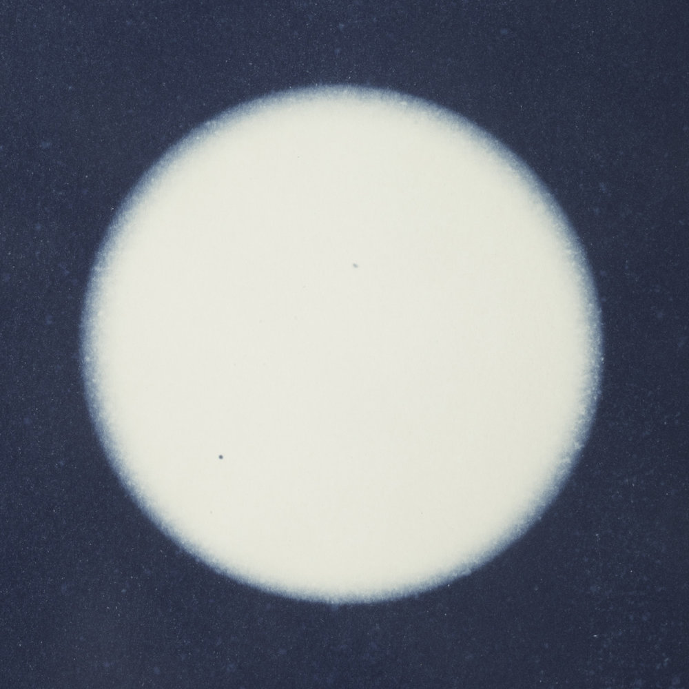 Marian Boardley  Cyanotype  Paper Size: 9 x 12, digital version are cropped square  $195 framed  boardley_marian_3, entry #462   https://www.marianboardley.com/blog/eclipse-and-transit-cyanotypes-of-celestial-events/