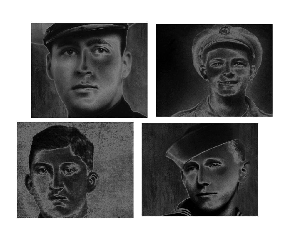Lost boys grid #1 - 4 young men, killed in WW1 and WW2,  American, British, German