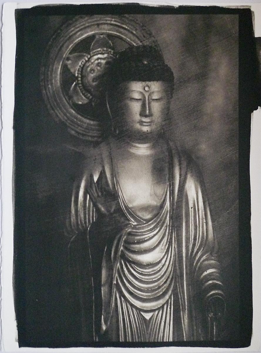 Japanesee Buddha, c1860, and Gold Sari, c1900