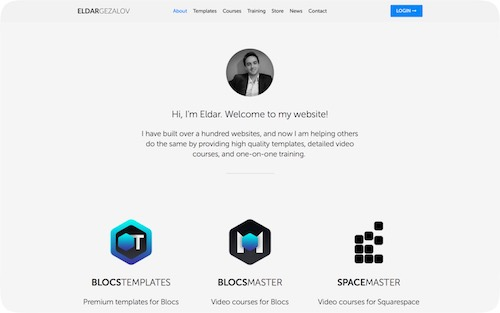 Eldar Gezalov    Personal website with an integrated shop
