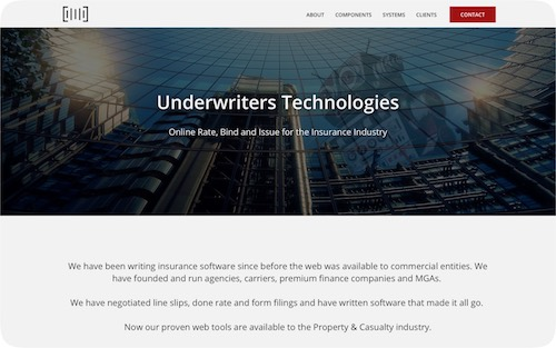 Underwriters Technologies   Corporate website for an insurance company