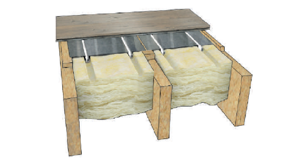 Suspended Floor - This method of underfloor heating is doneby installing a long, thin aluminium sheet called Heat Emission Plat between the floor joists. Flooring is then laid directly on top. The Heat Emission Plate has a groove running along its center line designed to locate the pipe work.The pipe is sandwiched between the Heat Emission Plate and the floor.The design allows heat energy from the underfloor heating pipe to transfer through the alumimium sheet and though the floor.